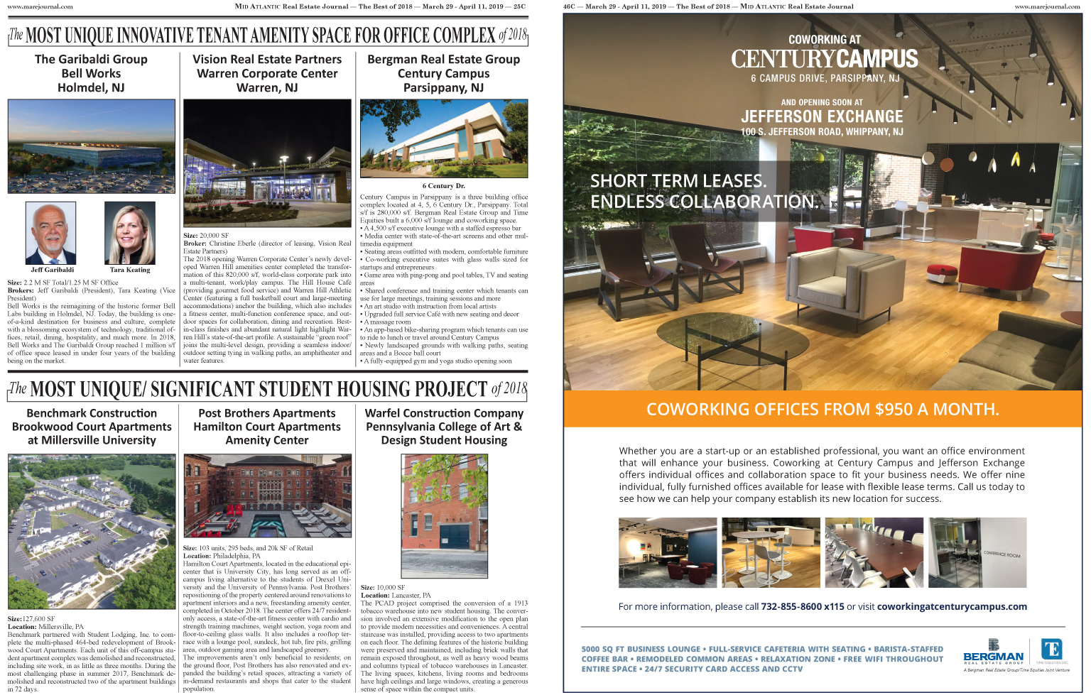 Century Campus in Parsippany, NJ wins the Mid Atlantic Real Estate
